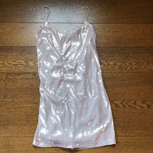 Zara Collection Rose Gold Sequin Backless Dress L